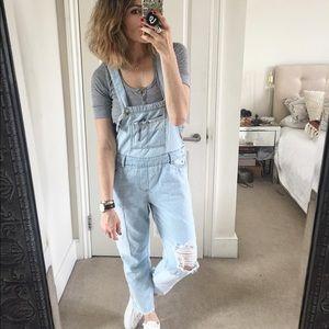 Zara light denim distressed overalls